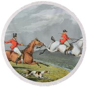 Fox Hunting - Full Cry Round Beach Towel