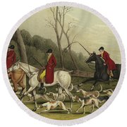 Fox Hunting Going Into Cover Round Beach Towel