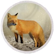 Fox In The Snowstorm - Painting Round Beach Towel