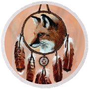 Fox Medicine Wheel Round Beach Towel by Brandy Woods