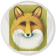 Fox Portrait Round Beach Towel