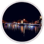 Fox River Green Bay At Night Round Beach Towel