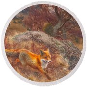 Fox With Hounds Round Beach Towel