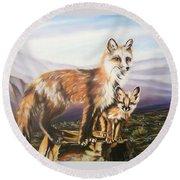 Foxes   Fundamental Foresight Foundation  Round Beach Towel