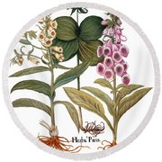 Foxglove And Herb Paris Round Beach Towel