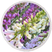 Foxglove Card Round Beach Towel