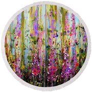 Foxgloves Large Painting Round Beach Towel