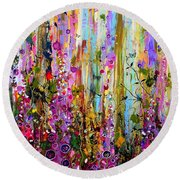 Foxgloves Panel One Round Beach Towel