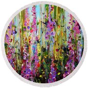 Foxgloves Panel Two Round Beach Towel