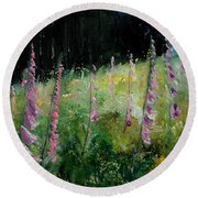 Foxgloves Round Beach Towel