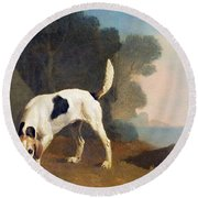 Foxhound On The Scent Round Beach Towel