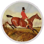Foxhunting - Clearing A Bank Round Beach Towel