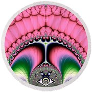 Fractal 19 Strutting Peacock Round Beach Towel