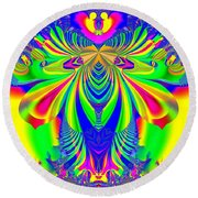 Fractal 31 Psychedelic Love Explosion Round Beach Towel