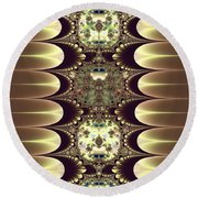 Fractal 42 Cameos In Gold And Ivory Round Beach Towel