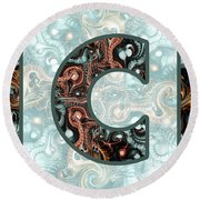 Fractal - Alphabet - C Is For Complexity Round Beach Towel