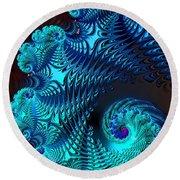 Fractal Art - Blue Wave Round Beach Towel