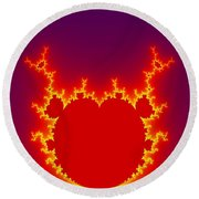 Fractal Burning Heart Round Beach Towel