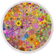 Fractal Floral Study 3 Round Beach Towel