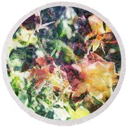 Fractal Flowers Round Beach Towel