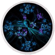Fractal Forget Me Not Bouquet  Round Beach Towel