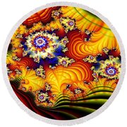 Fractal Furrows Round Beach Towel