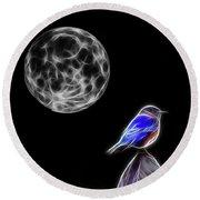 Fractal Moon And Bluebird Round Beach Towel