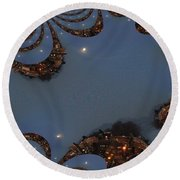 Fractal Moon Round Beach Towel