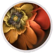 Fractal Pansy Round Beach Towel