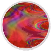 Fractal Red Round Beach Towel