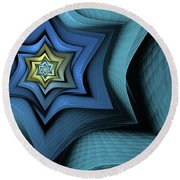 Fractal Star Round Beach Towel