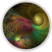 Fractal Swirls Round Beach Towel