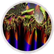 Fractal Torch Round Beach Towel