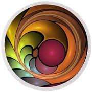 Fractal With Orange, Yellow And Red Round Beach Towel