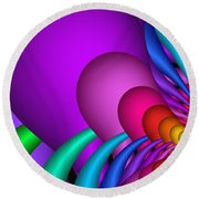 Fractalized Colors -1- Round Beach Towel