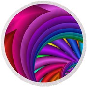 Fractalized Colors -3- Round Beach Towel