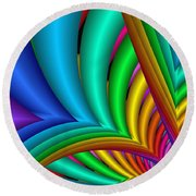 Fractalized Colors -4- Round Beach Towel