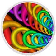 Fractalized Colors -5- Round Beach Towel by Issabild -