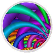 Fractalized Colors -6- Round Beach Towel
