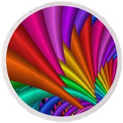 Fractalized Colors -7- Round Beach Towel by Issabild -