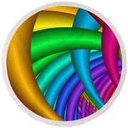 Fractalized Colors -9- Round Beach Towel