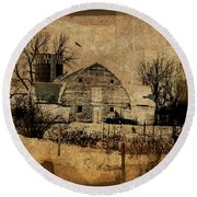 Fragmented Barn  Round Beach Towel by Julie Hamilton