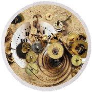 Fragmented Clockwork In The Sand Round Beach Towel