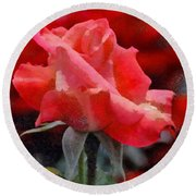 Fragmented Pink Rose Round Beach Towel