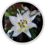 Fragrant White Lily Round Beach Towel