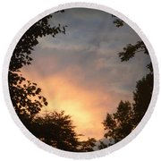 Framed Fire In The Sky Round Beach Towel
