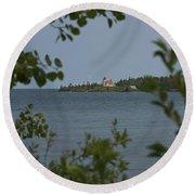 Framed Lighthouse Round Beach Towel