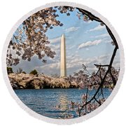 Framed With Blossoms Round Beach Towel