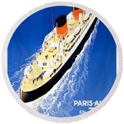 France Cruise Vintage Travel Poster Restored Round Beach Towel