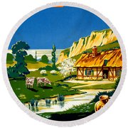 France Normandy Vintage Travel Poster Restored Round Beach Towel